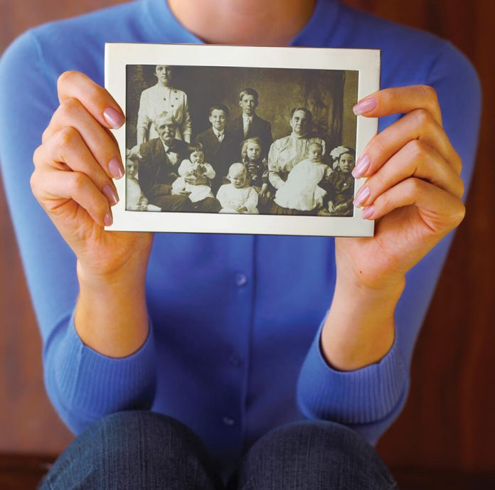 lady with old photo