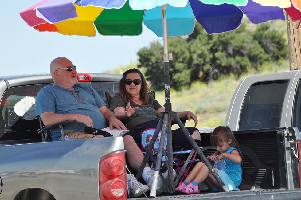 family on truck