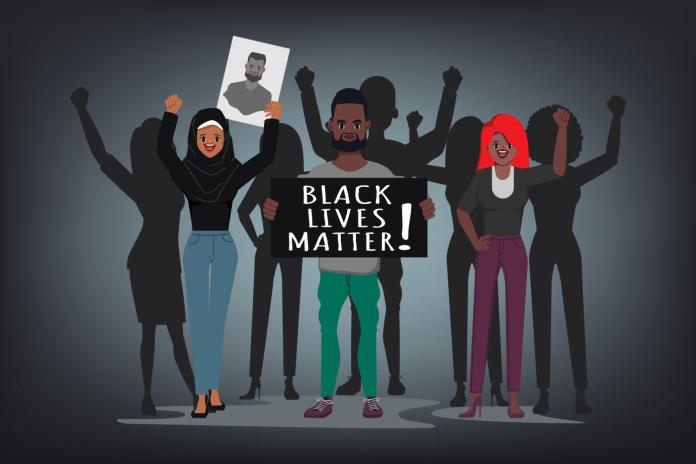 Cartoon depiction of Black Lives Matter demonstrators